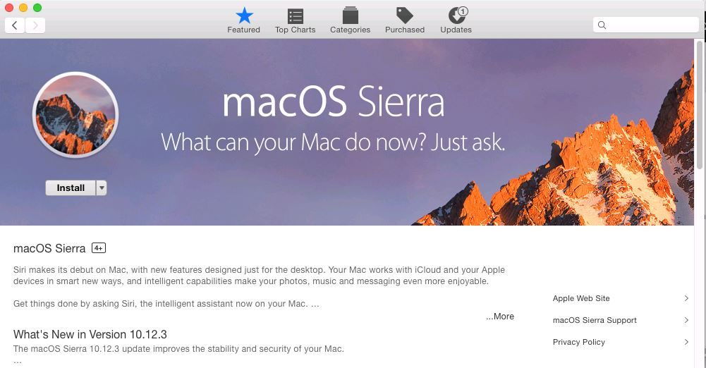 Download or Install MacOS Sierra