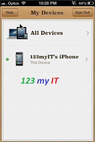 Fine My iPhone Menu