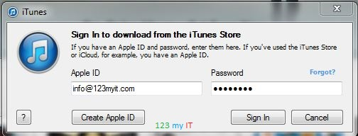 iTunes Login Screen