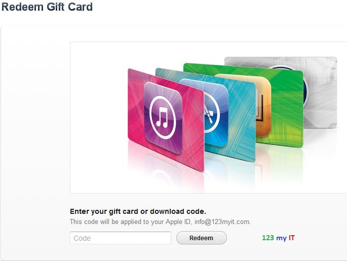 Apple Redeem Gift Card Screen