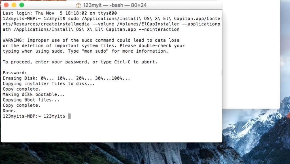 OS X El Capitan Installer USB