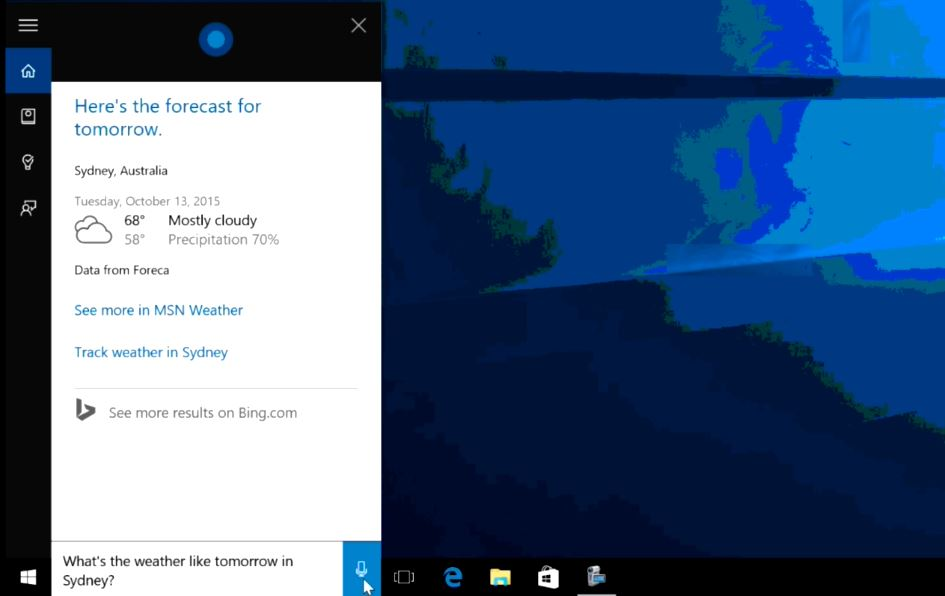 Weather Cortana