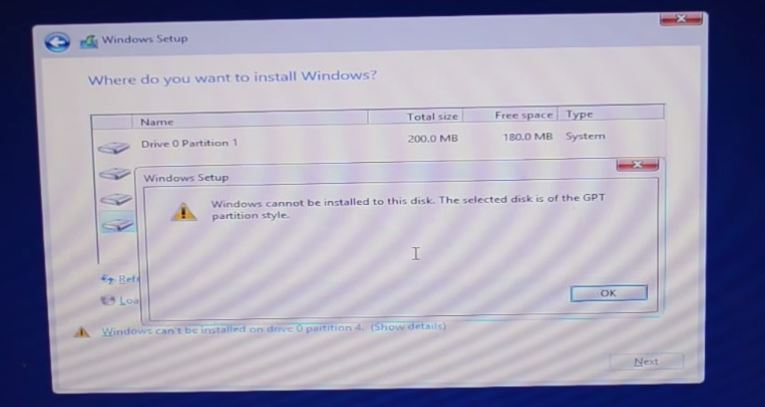 Fix GPT Error: Windows cannot be installed to this disk