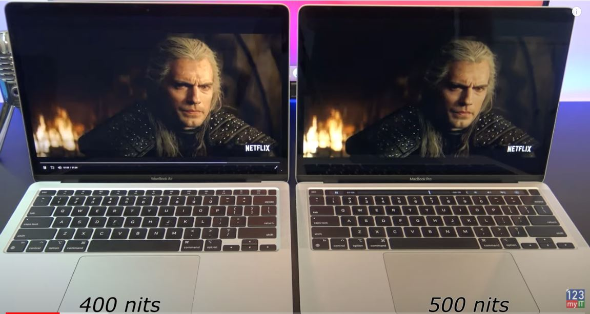 Display Brightness compare MacBook Air M1 vs MacBook Pro M1