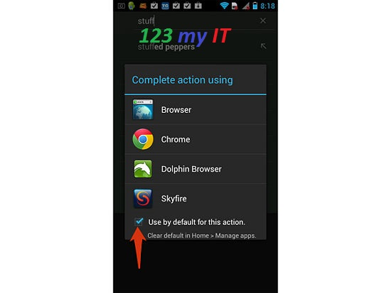 Android Browser Set Default Button