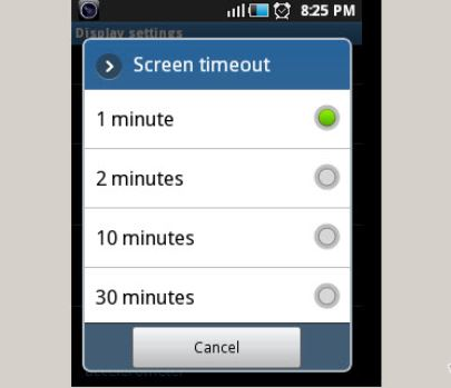 Android Screen Timeout