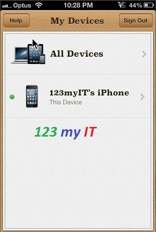 Fine My iPhone Menu
