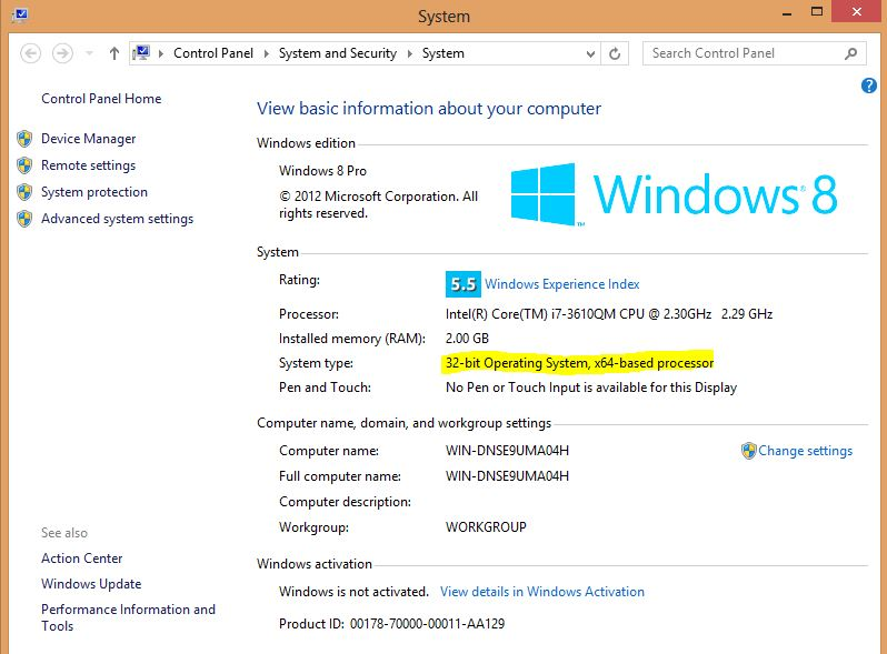 Windows 8 System Control Panel